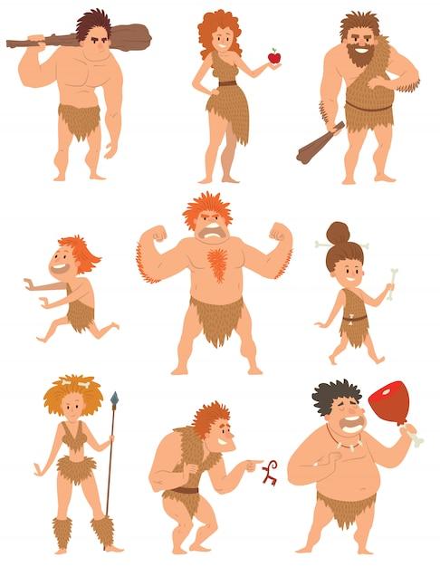 Holbewoner primitieve mensen cartoon actie neanderthaler evolutie vector. Premium Vector