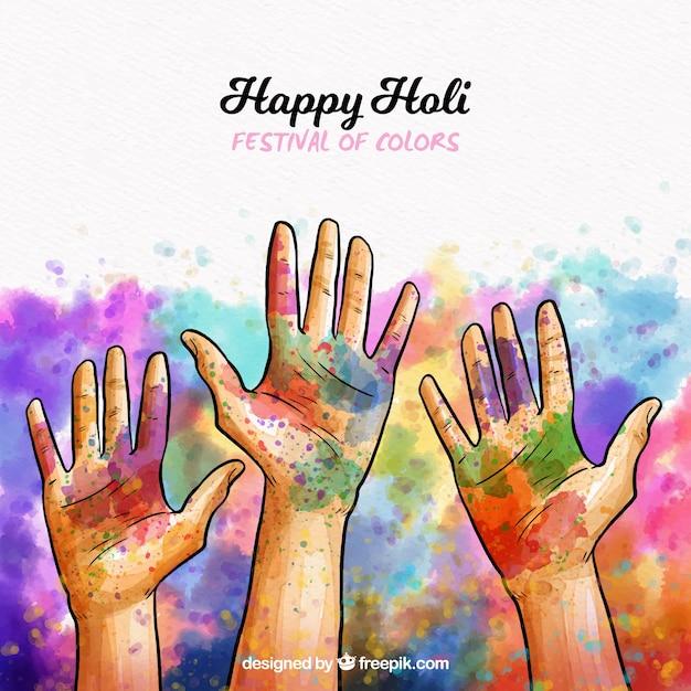 Holi-achtergrond met drie handen Gratis Vector