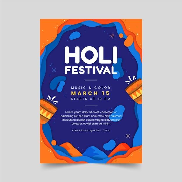 Holi-feestaffiche met traditionele glazen Gratis Vector