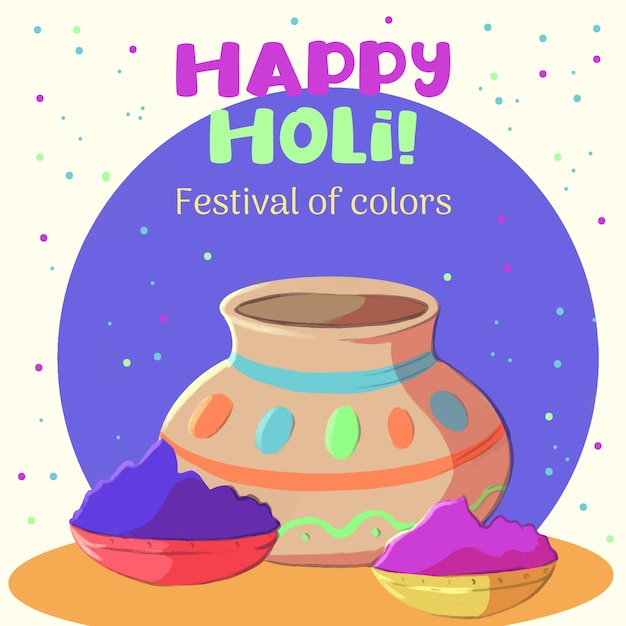 Holi festival aquarel en verfpoeder Gratis Vector