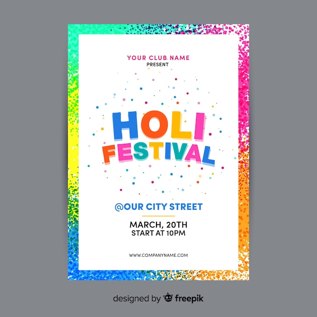 Holi festival folder folder sjabloon Gratis Vector