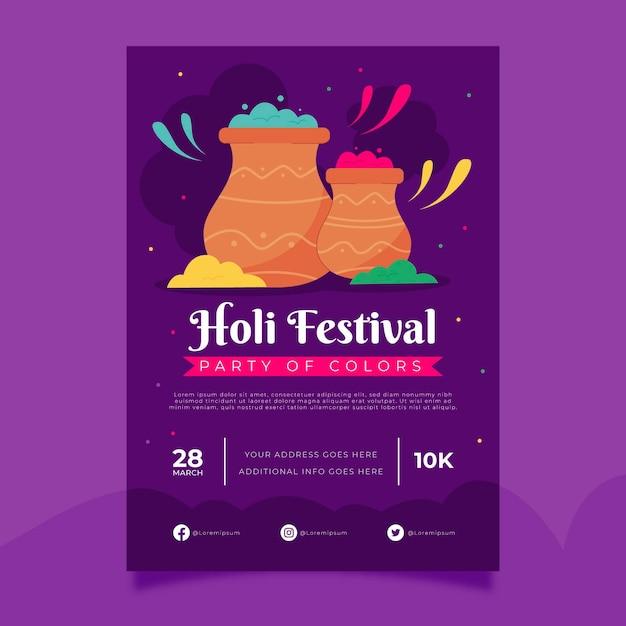 Holi festival poster sjabloon Gratis Vector