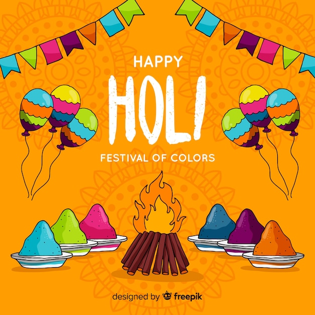 Holi-festivalachtergrond Gratis Vector