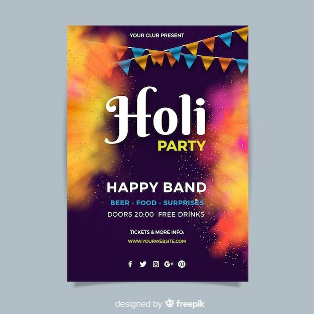 Holi festivalaffiche Gratis Vector