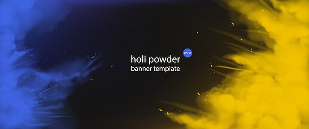 Holi-poeder schildert lege sjabloon voor spandoek, rand Gratis Vector
