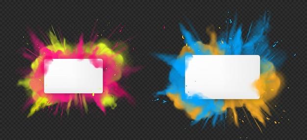 Holi verfpoeder kleur explosie realistisch Gratis Vector