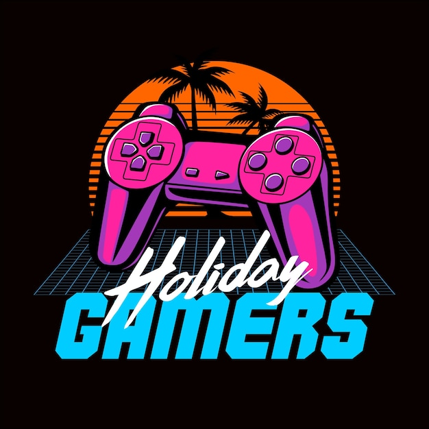 Holiday gamers 80s retro afbeelding Premium Vector