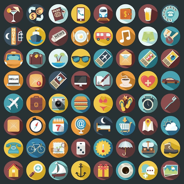Holiday iconen collectie Gratis Vector