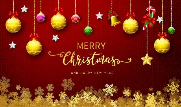 Holiday's achtergrond met seizoenswensen en rand van realistisch ogende versierde kerstboomtakken Premium Vector