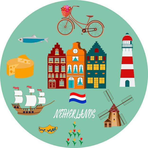 Holland reizen culturele en toeristische symbolen frame met tulpen houten klompen en windmolens Premium Vector