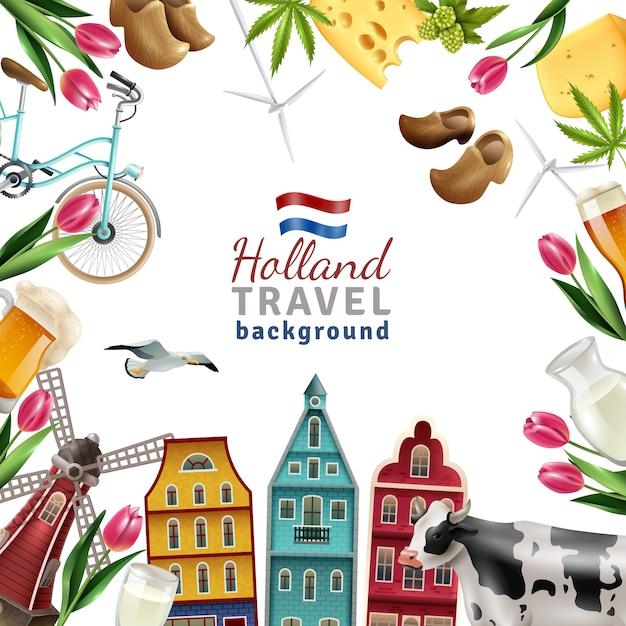 Holland travel frame achtergrond poster Gratis Vector