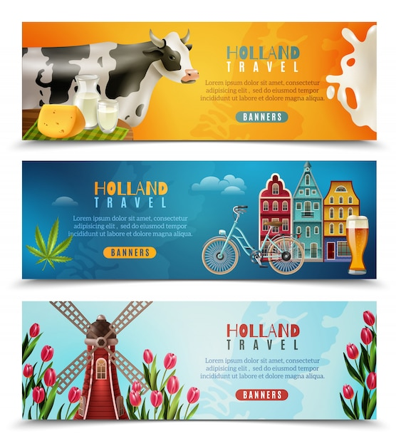 Holland travel horizontale bannersenset Gratis Vector