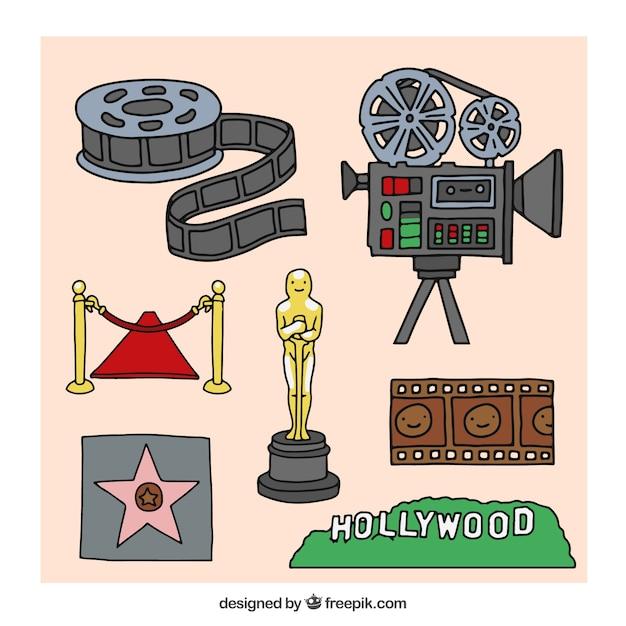 Hollywood-cinema elementen collectie Gratis Vector
