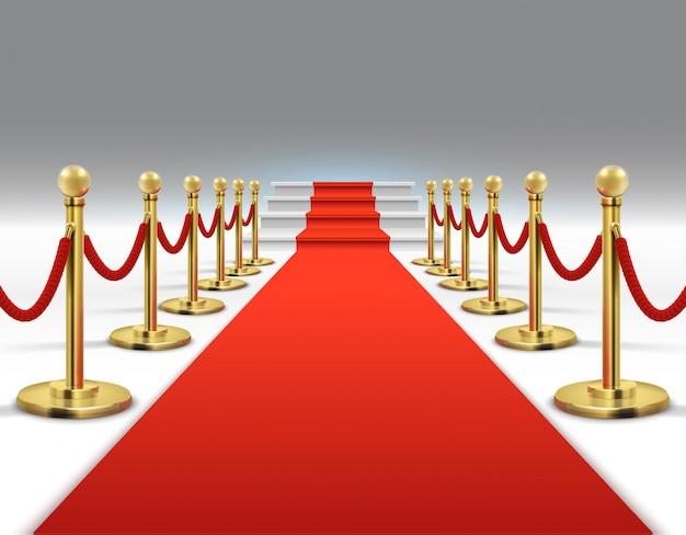 Hollywoodluxe en elegant rood tapijt met treden in perspectief vectorillustratie. Premium Vector
