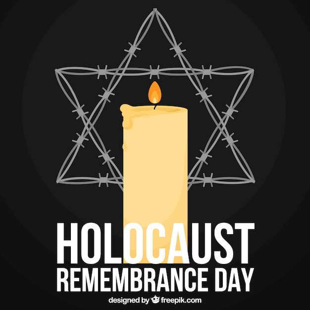 Holocaust remembrance day, een kaars en een ster op een zwarte achtergrond Gratis Vector