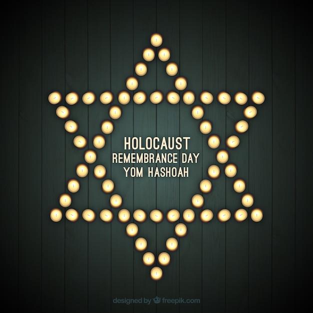 Holocaust remembrance day, ster met lichten Gratis Vector
