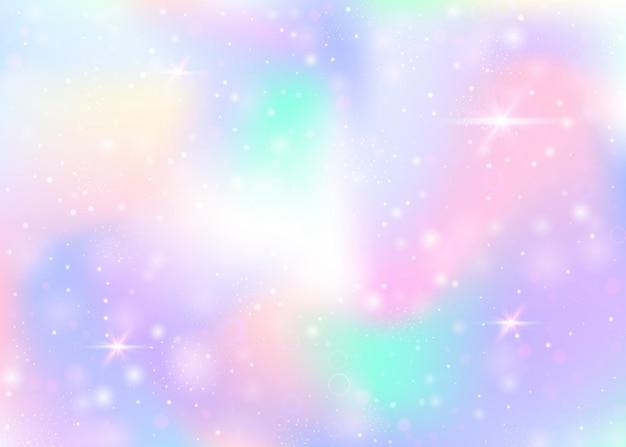Holografische achtergrond met regenboog gaas. mystieke universum-banner in prinseskleuren. Premium Vector