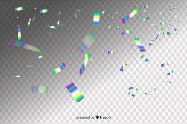 Holografische confetti effect achtergrond Gratis Vector