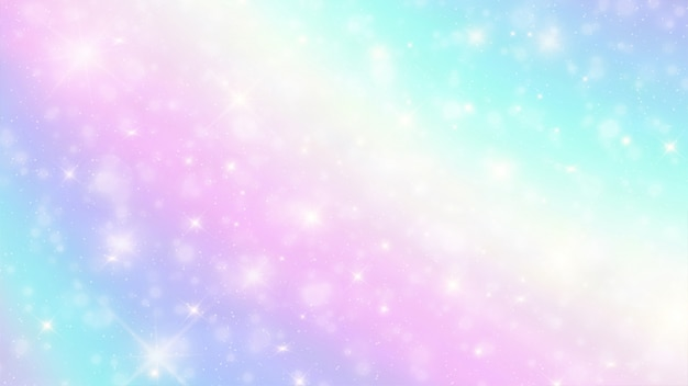 Holografische fantasie boekh achtergrond met sterren Premium Vector
