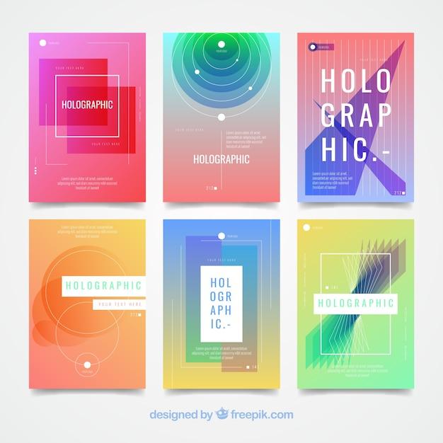 Holografische kaarten met abstracte vormen Gratis Vector