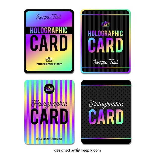 Holografische kaarten pakken Gratis Vector