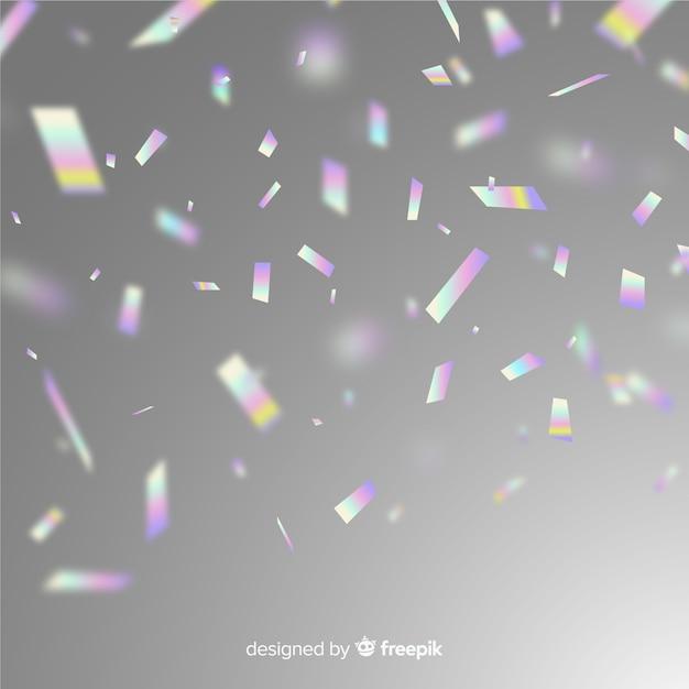 Holografische partij glitter confetti achtergrond Premium Vector
