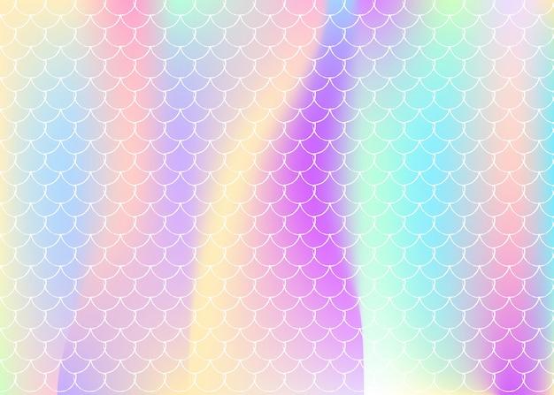 Holografische zeemeermin achtergrond met kleurovergang schalen. Premium Vector