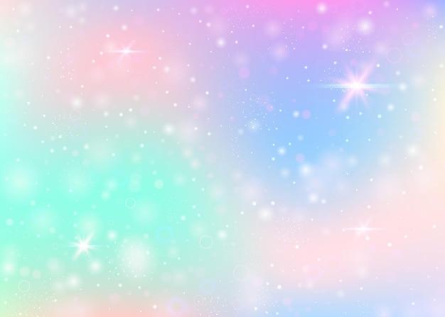 Hologram achtergrond met regenboog gaas. vloeibare universum-banner in prinseskleuren. fantasie verloop achtergrond. Premium Vector