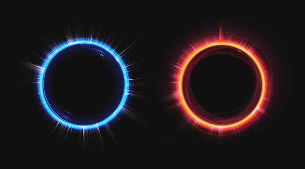 Hologram effect cirkels ingesteld Gratis Vector
