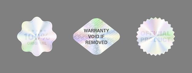 Hologram label set isoleer hologram sticker Premium Vector