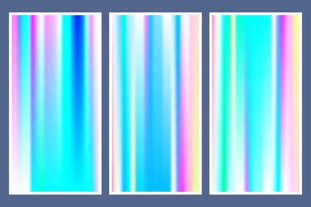 Hologram verloop achtergrond instellen met holografische omslag Premium Vector