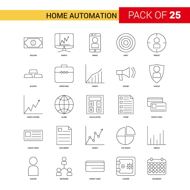 Home automation black line icon Gratis Vector