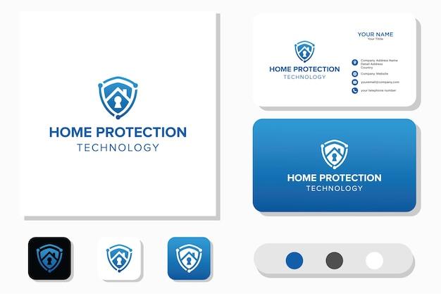 Home bescherming technologie logo ontwerp en visitekaartje Premium Vector