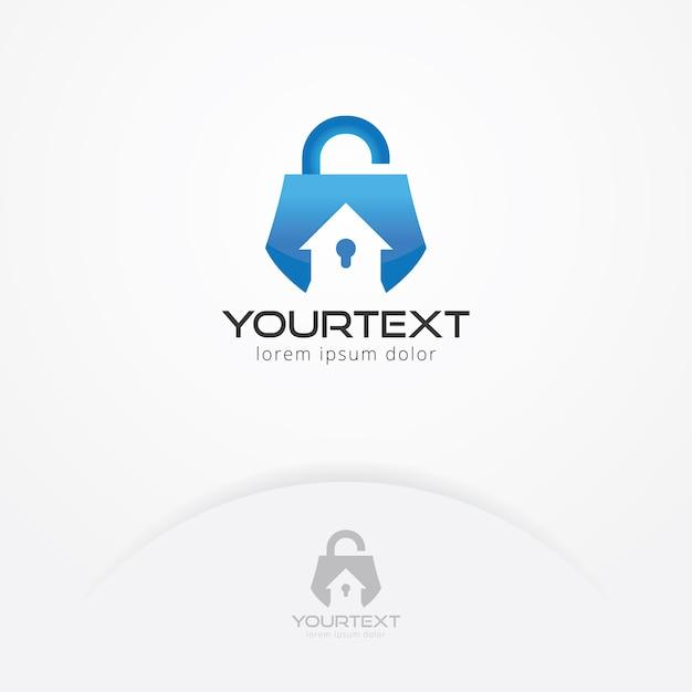 Home beveiligingssysteem logo Premium Vector