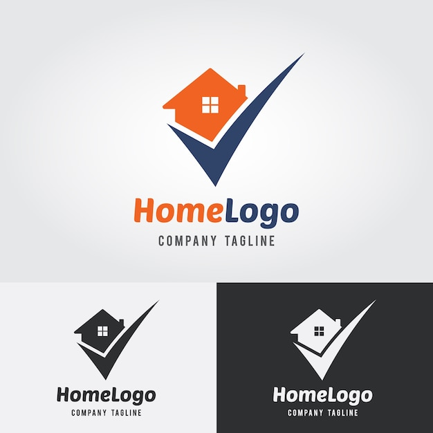 Home controleer logo template Premium Vector