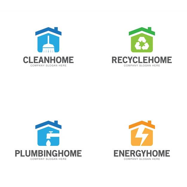 Home logo collectie Premium Vector