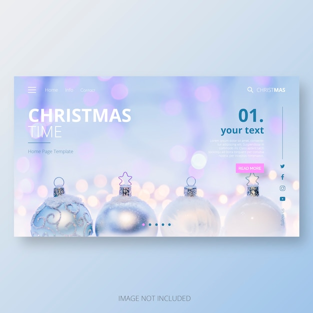 Home-paginasjabloon voor de kersttijd Gratis Vector