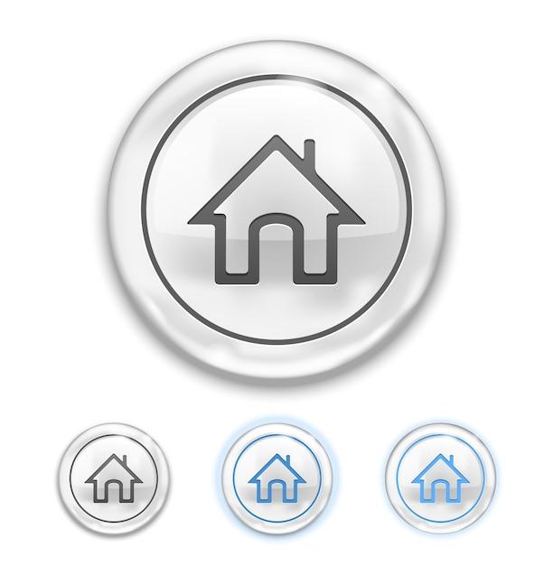 Home-pictogram aan knoppictogram normaal, zweven, ingedrukt Gratis Vector