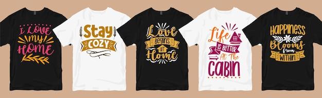 Home quotes typografie t-shirt ontwerpen bundel, house lovers grafisch t-shirt design pack Premium Vector