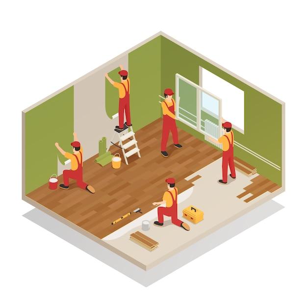 Home renovatie isometrische samenstelling Gratis Vector
