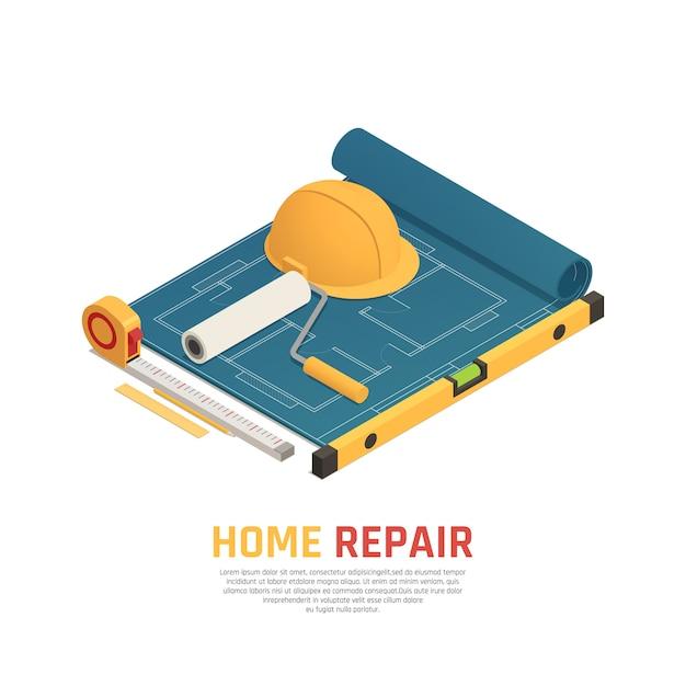 Home renovatie isometrische sjabloon Gratis Vector