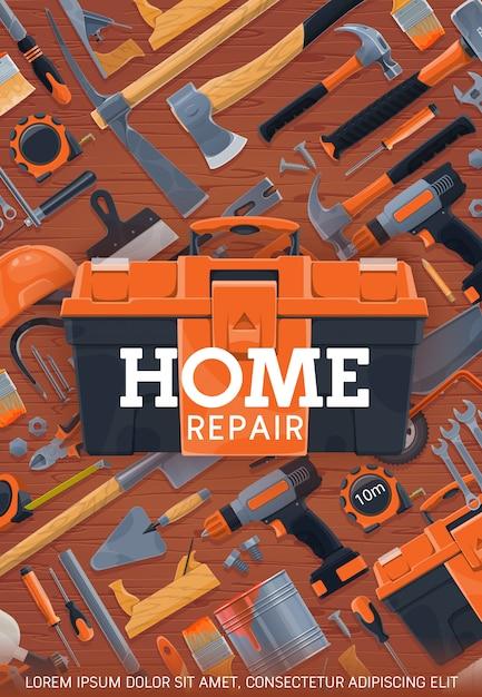 Home reparatie en bouwwerkzaamheden tools poster Premium Vector
