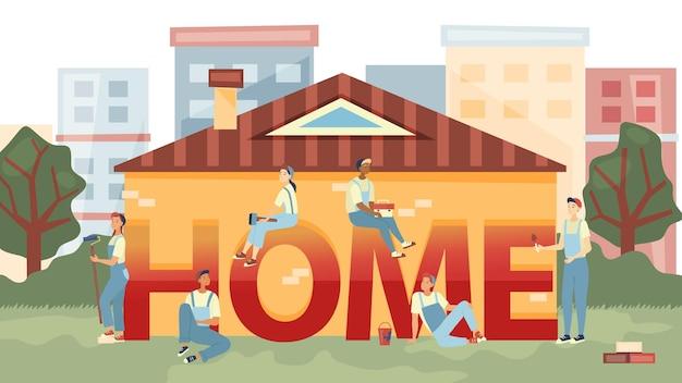 Home reparatie, klusjesman home reparatie bedrijfsconcept. mensen repareren of bouwen een nieuw huis. team van bouwers werkt met professionele gereedschappen en bouwt een nieuw huis. Premium Vector