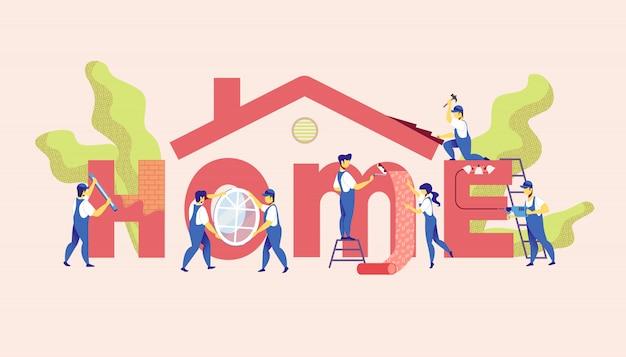 Home reparatie service. master renovatie appartement. Premium Vector