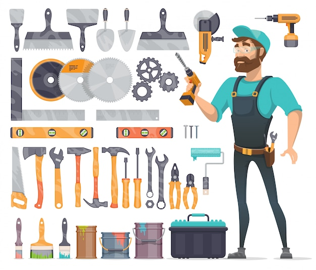 Home reparatie tools icons set Gratis Vector