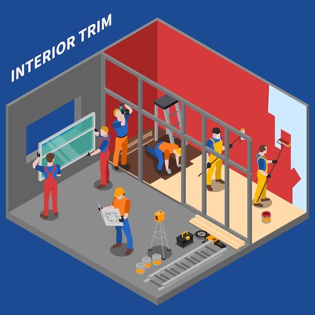Home reparatie werknemer mensen samenstelling Gratis Vector