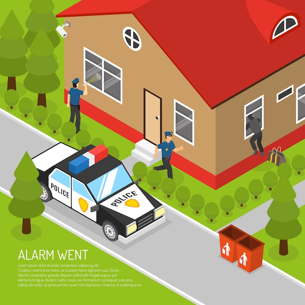 Home security alarm response isometric illustratie Gratis Vector