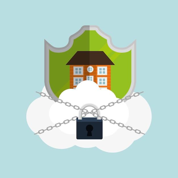 Home security cloud hangslot ketting Premium Vector