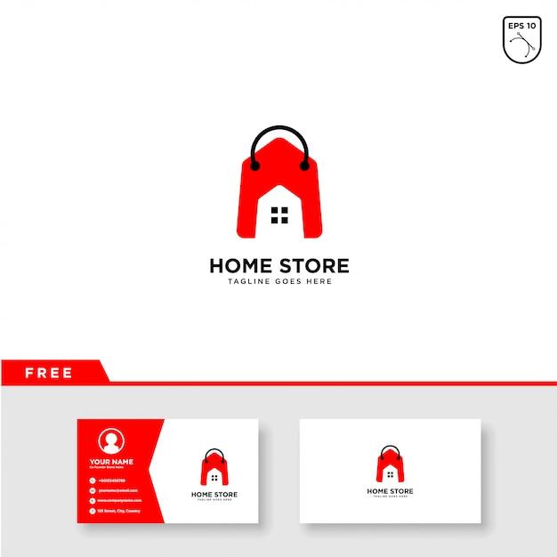 Home store logo vector- en visitekaartjesjabloon Premium Vector