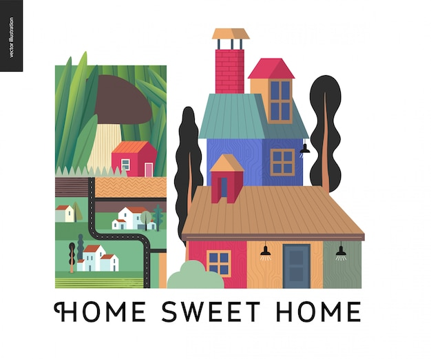 Home sweet home achtergrond Premium Vector